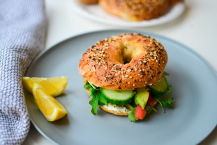 Cucumber Avocado Lox Bagel on an Everything 2 ingredient bagel