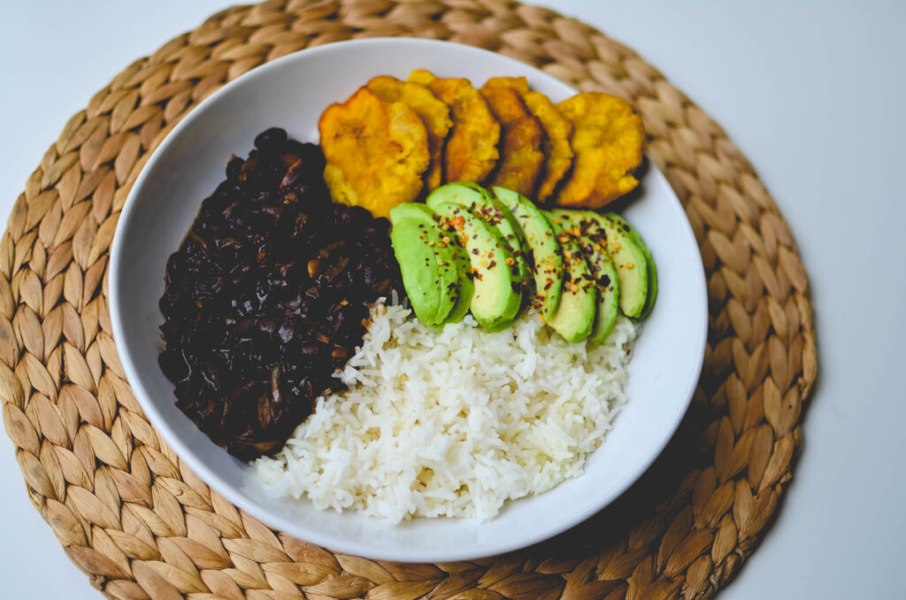 side view of the haitian style rice bowl