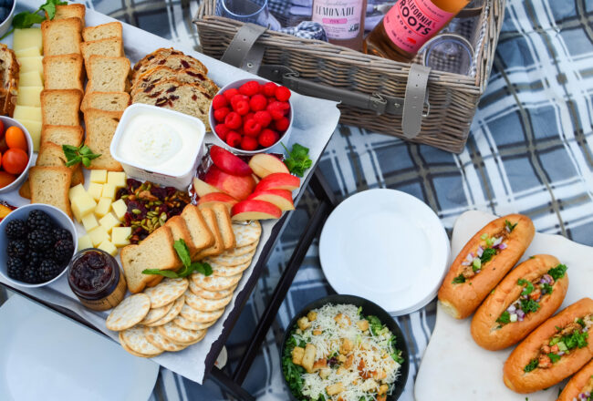 Picnic spread with a picnic basket